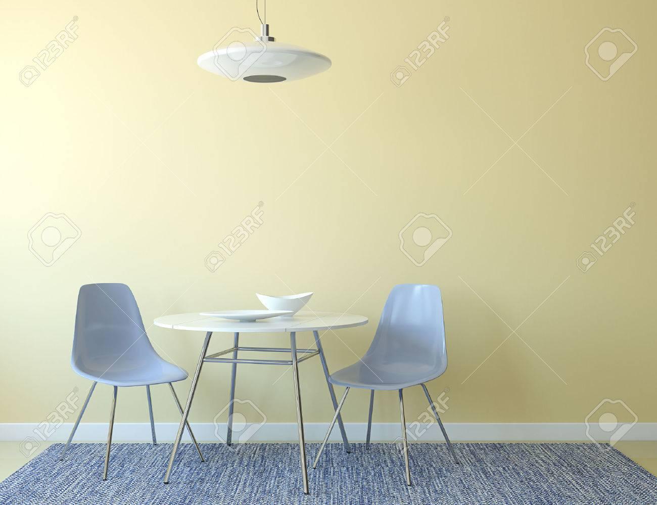 Küche Interieur Mit Tisch Und Zwei Blaue Stühle In Der Nähe Von ...