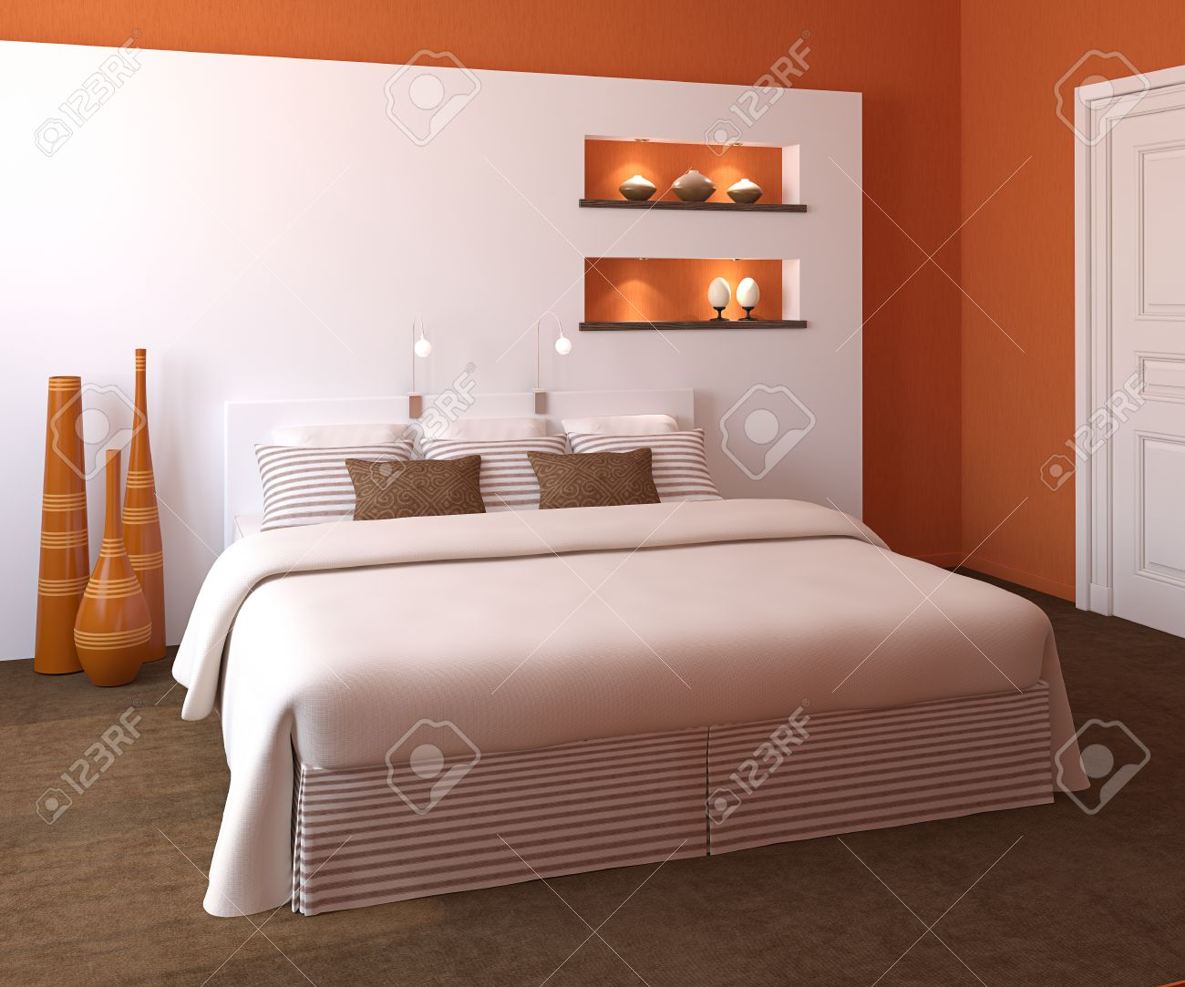 Modern bedroom interior with orange walls and king-size bed...