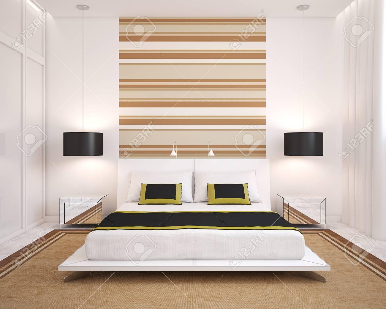 modern bedroom interior frontal view 3d render stock photo 45647684