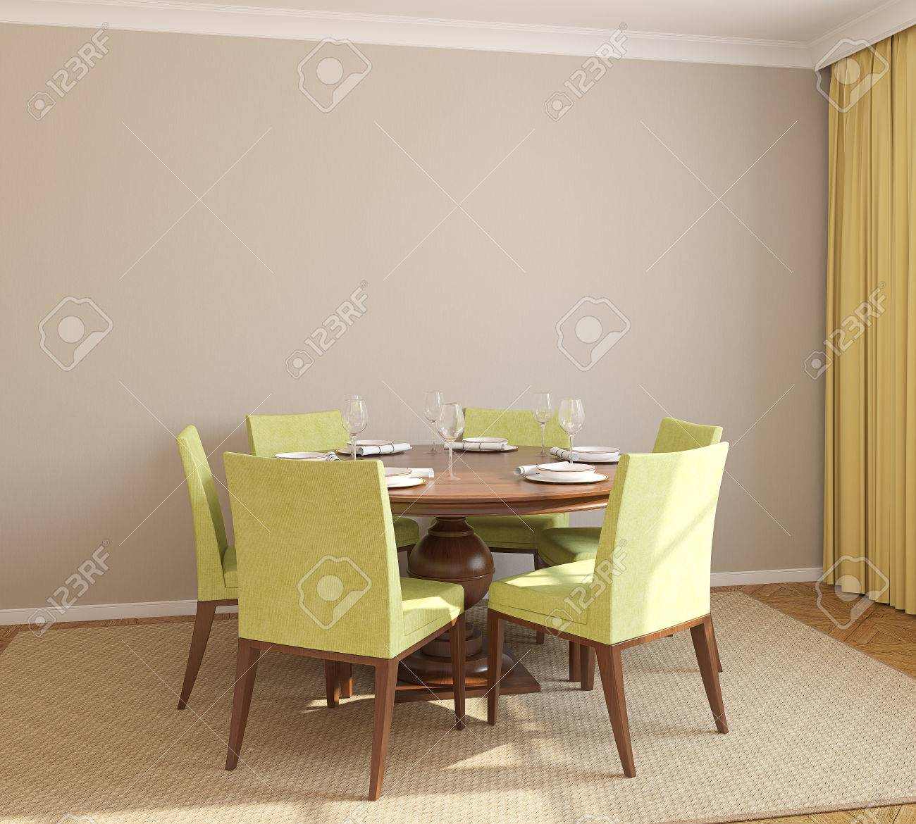 Dining-room interior with round table and six green chairs. 3d render. - 45647691