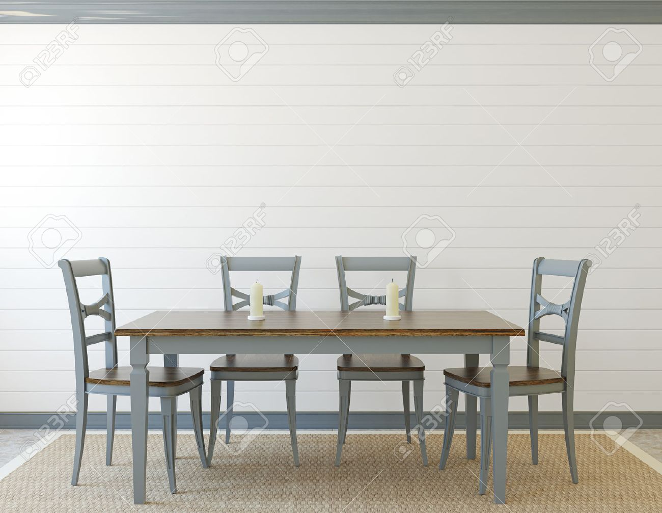 Dining-room interior. Provence. 3d render. - 45647689