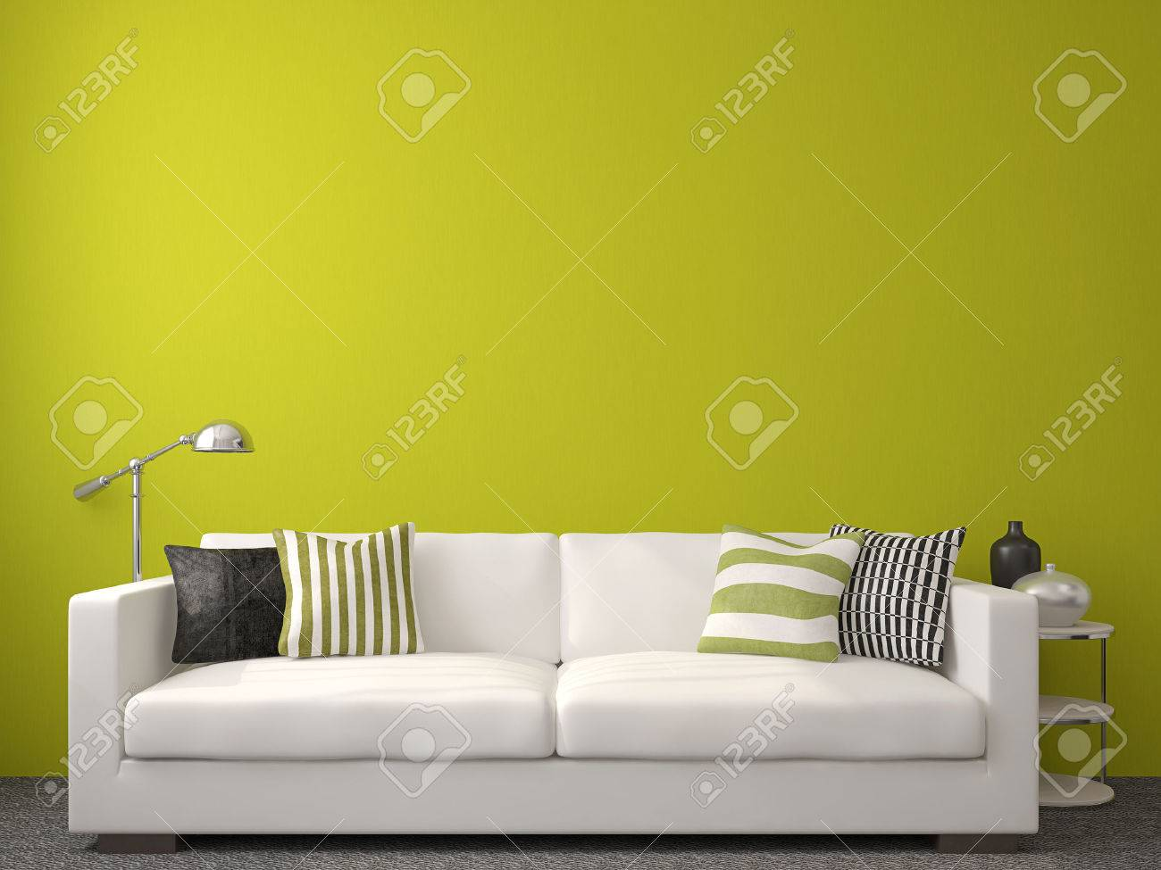 Modern living-room interior with white couch near empty green wall. 3d render. - 45647764