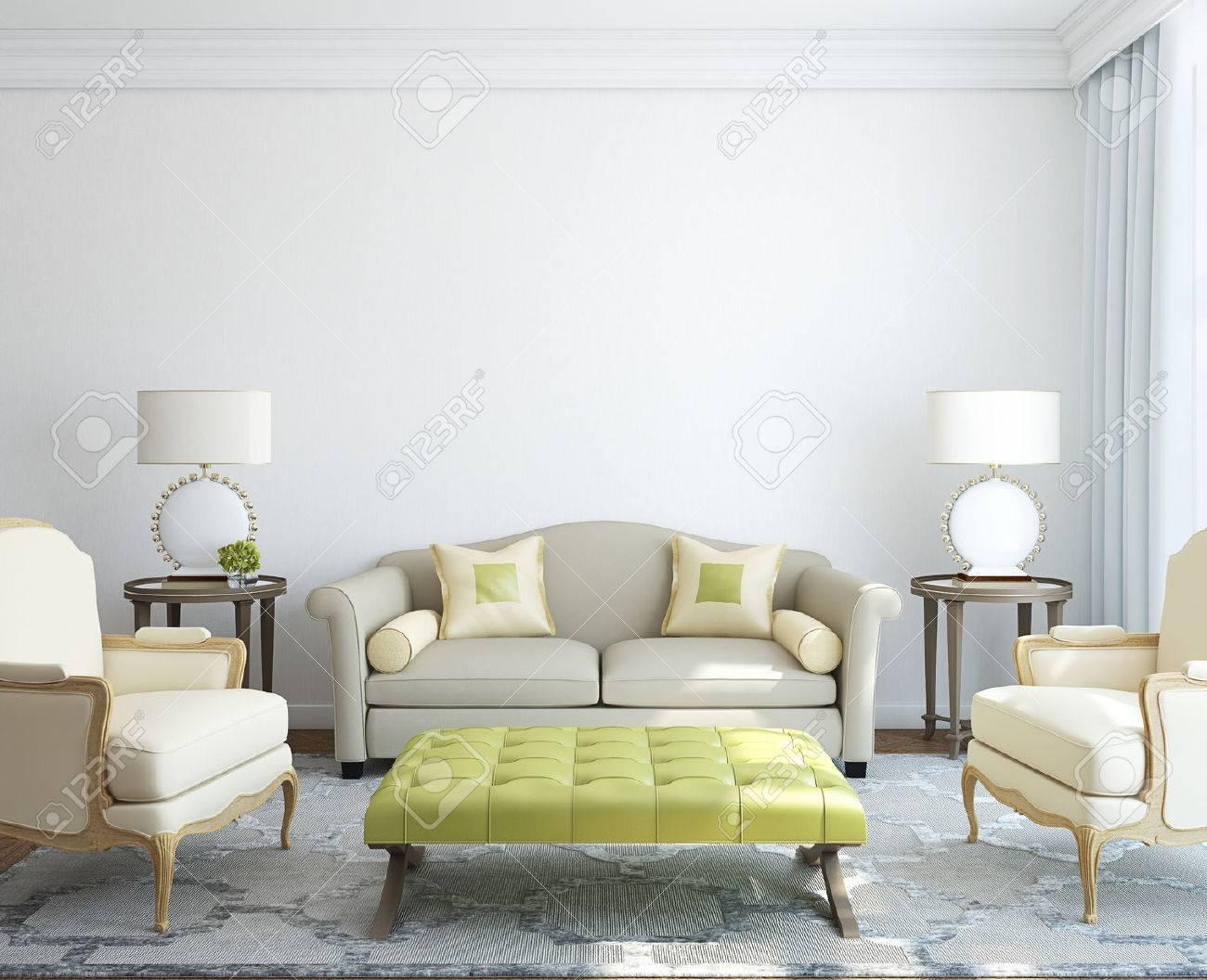 Modern living-room interior. 3d render. - 45647766