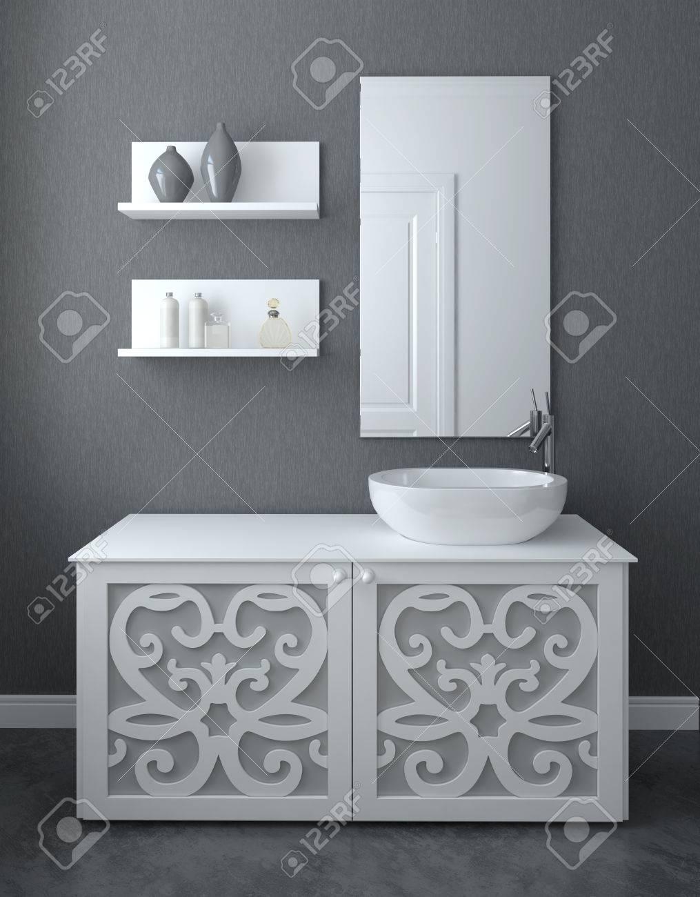 Modern bathroom interior. 3d render. - 45647840