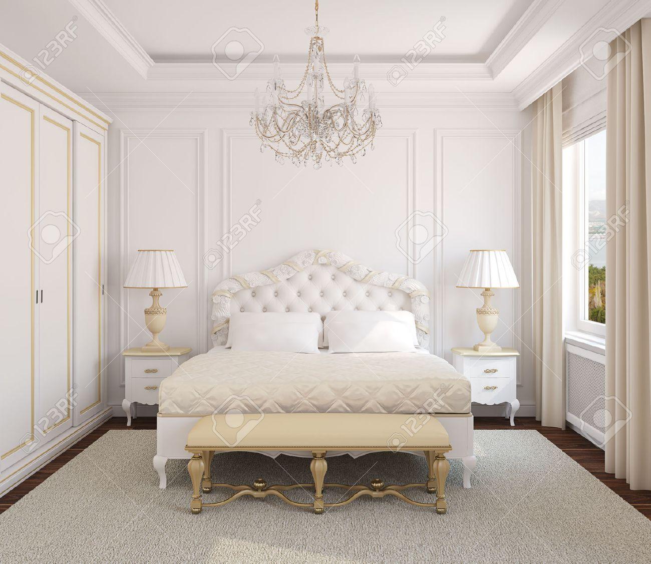 Klassisk vit sovrum inredning. 3d. foto bakom fönstret gjordes av ...