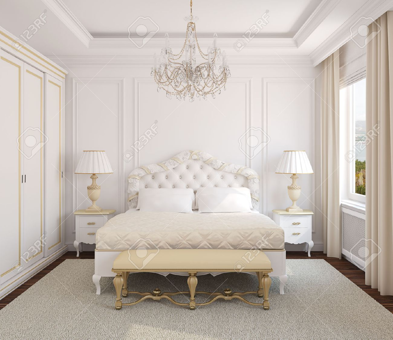 Classical white bedroom interior. 3d render. Photo behind the window was made by me. - 45647843