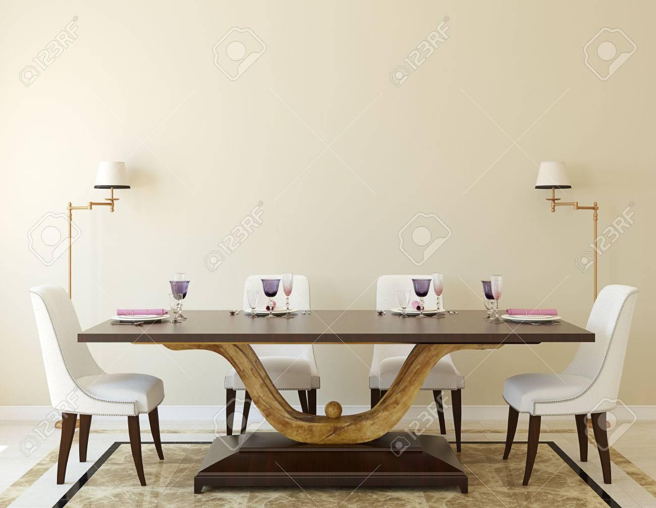 Modern dining-room interior.3d render. - 45647964