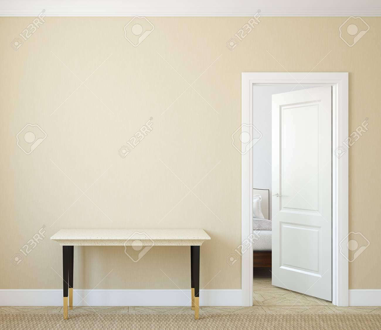 Modern hallway with open door. 3d render. - 45647962