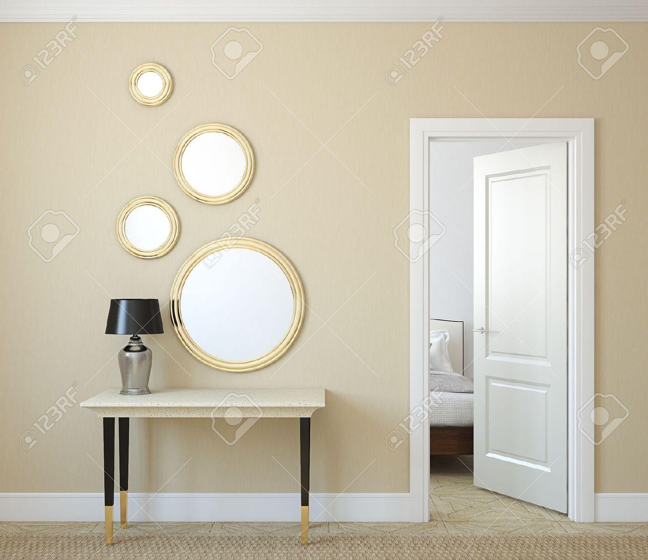Modern hallway with open door. 3d render. - 46522668