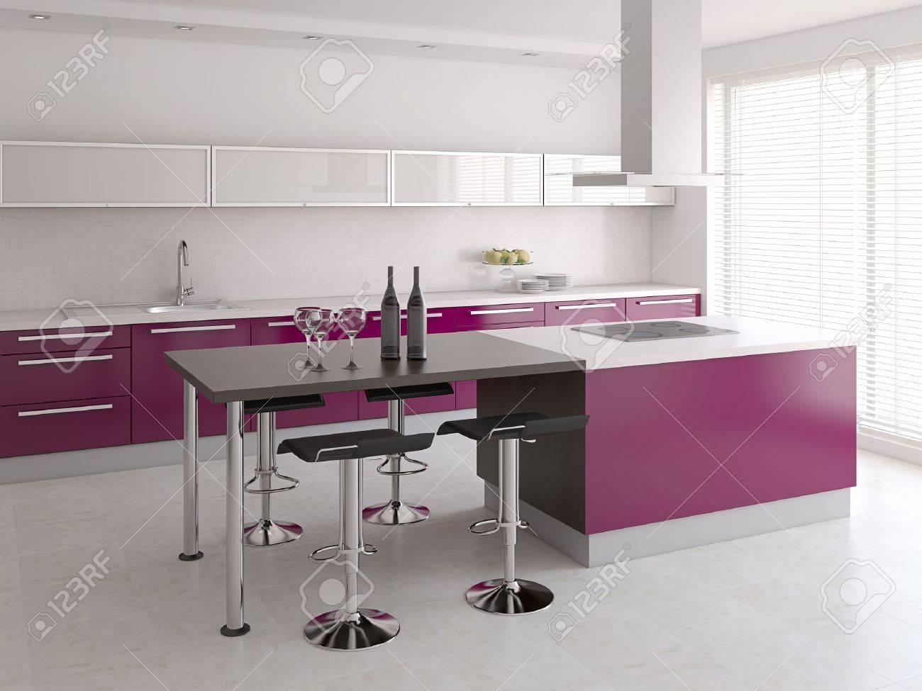 Interior of modern kitchen. 3d render. - 46522674