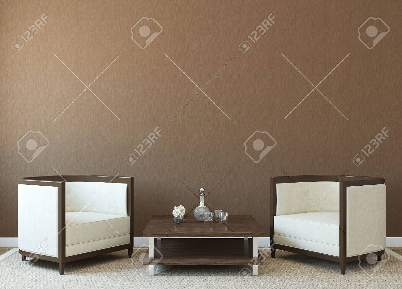 Modern interior with two armchairs near empty brown wall. 3d render. - 46522678