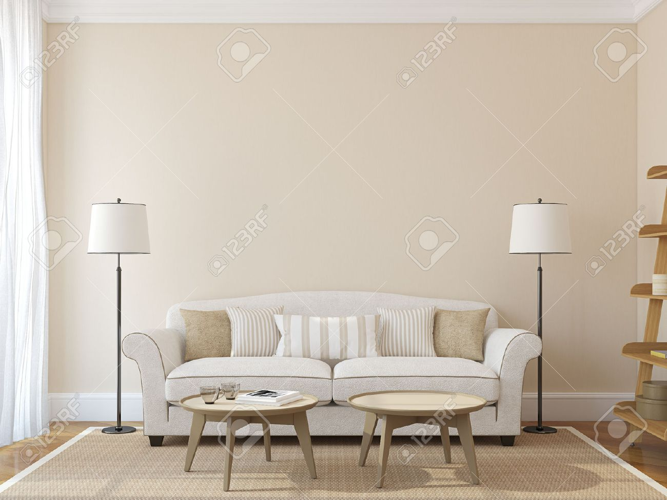 White Couch Living Room Modern Living Room Interior With White Couch Near Empty Beige