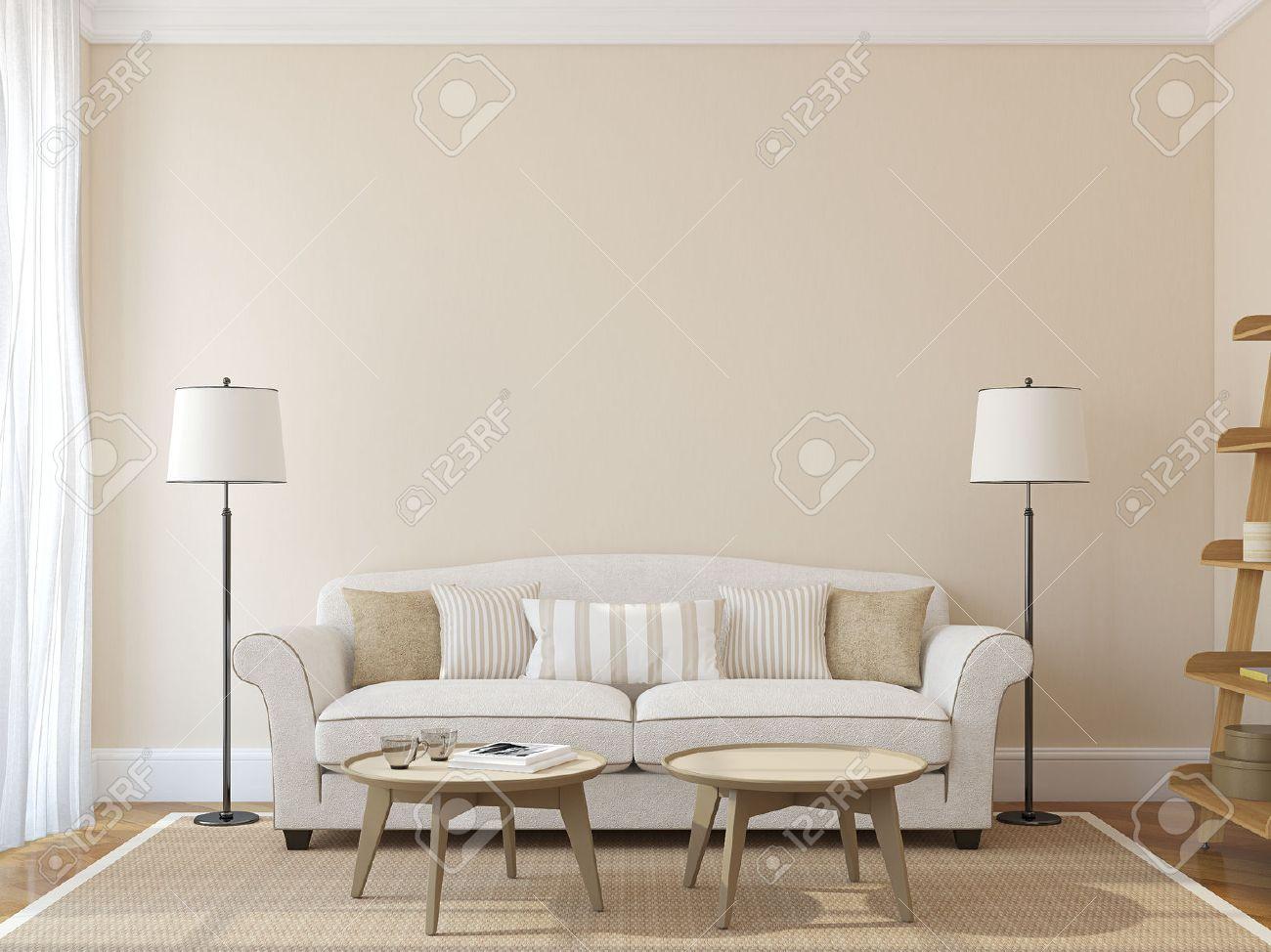 GroBartig Moderne Wohnzimmer Interieur Mit Weißen Couch In Der Nähe Leer Beige Wand.  3D Darstellung