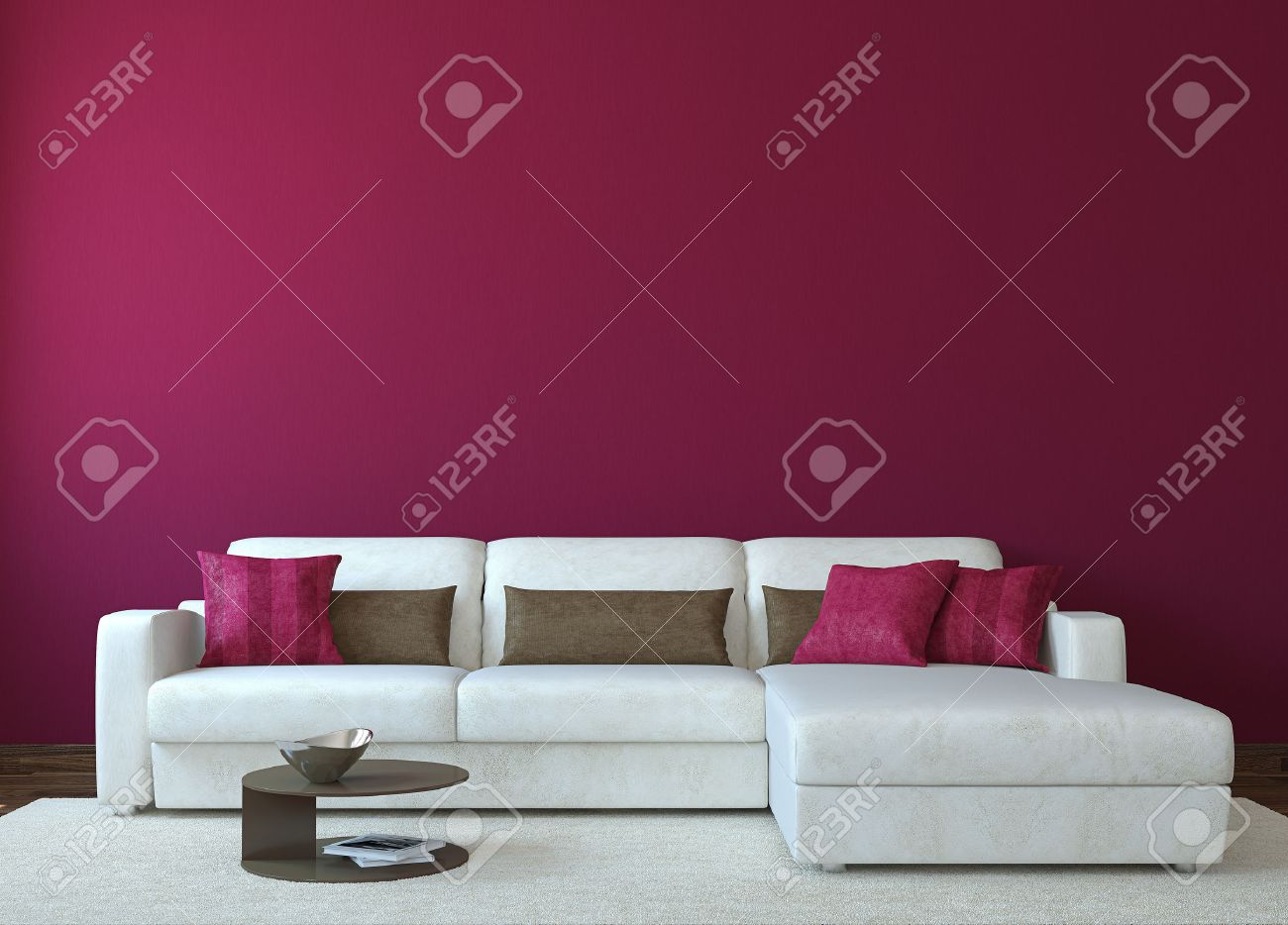 Modern living-room interior with white couch near empty red wall. 3d render. Photo for book cover was made by me. - 46522681