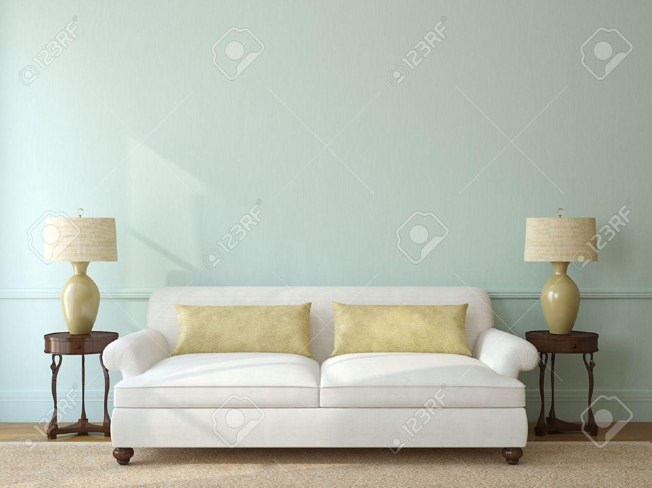 Klassisches Wohnzimmer Interieur Mit Weißen Couch In Der Nähe Von Leere  Blaue Wand. 3D