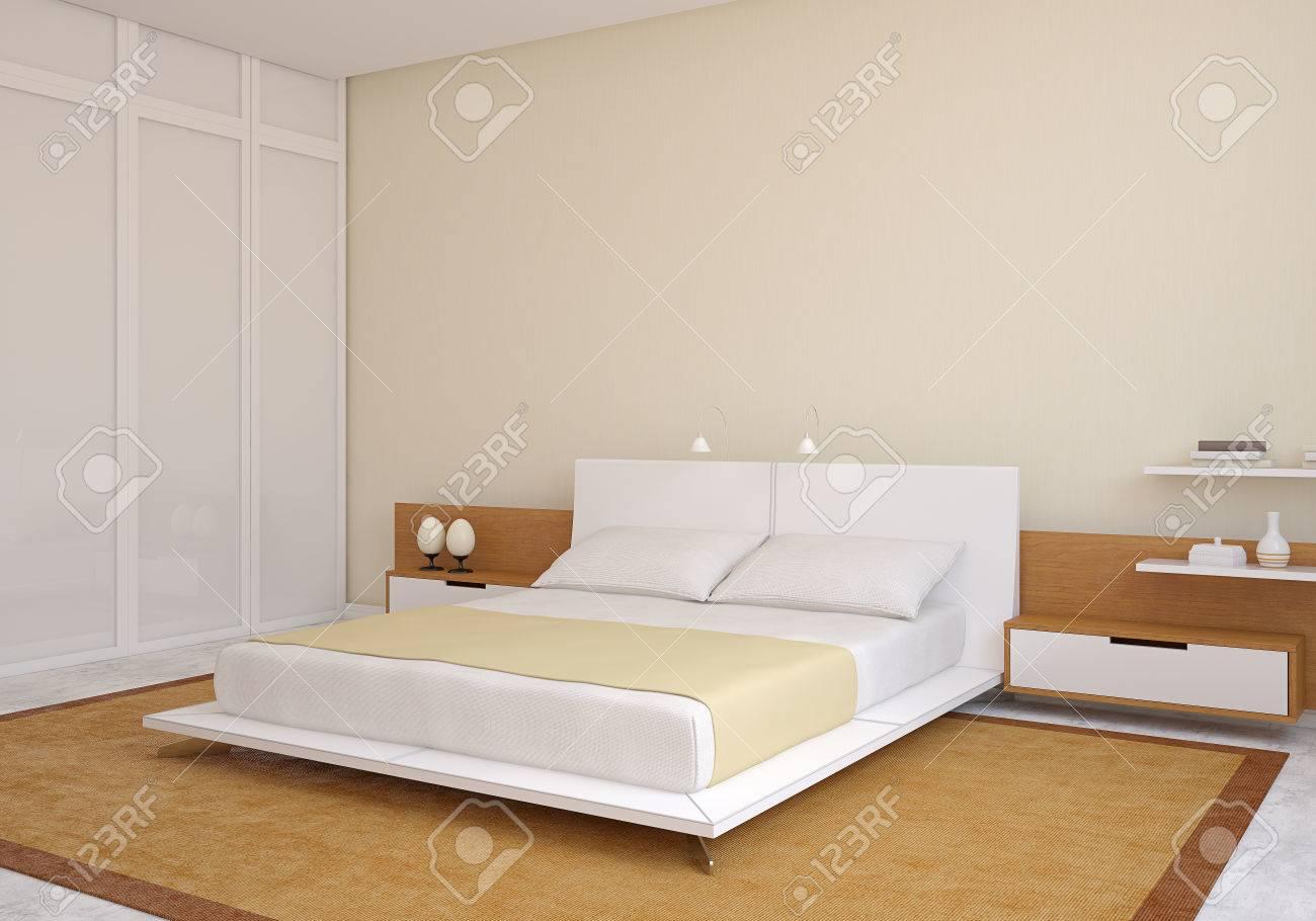 Modern bedroom interior. 3d render. - 47010975