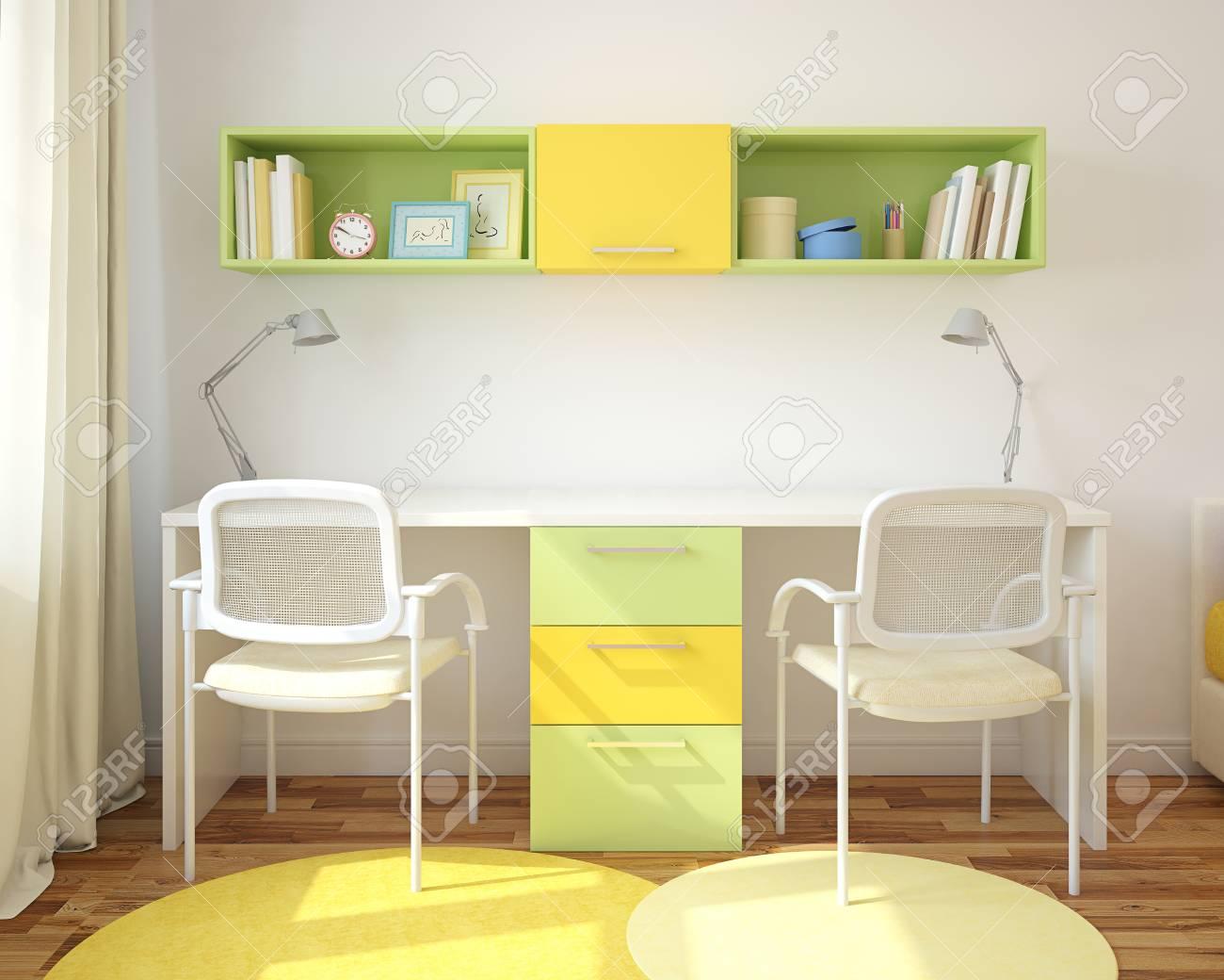 Modern Home Office For Two Children. 3d Render. Stock Photo   47010981