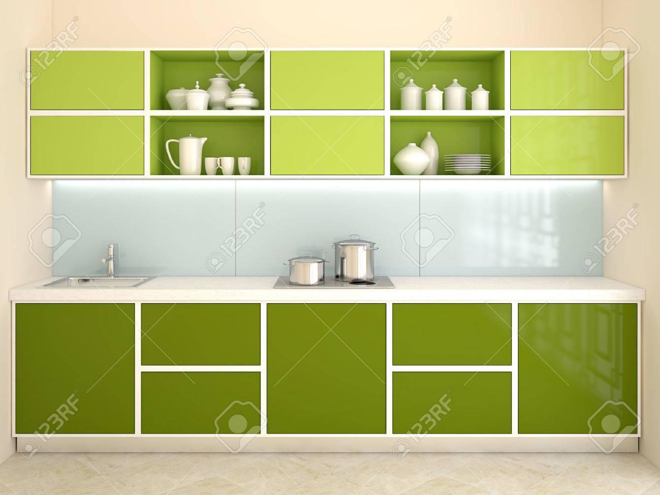 Interieur De La Cuisine Verte Moderne Vue Frontale Rendu 3d