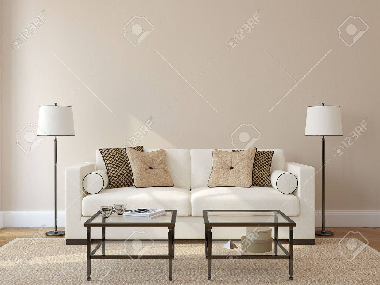 Modern living-room interior with white couch near empty beige wall. 3d render. Photo on book cover was made by me. - 47011268