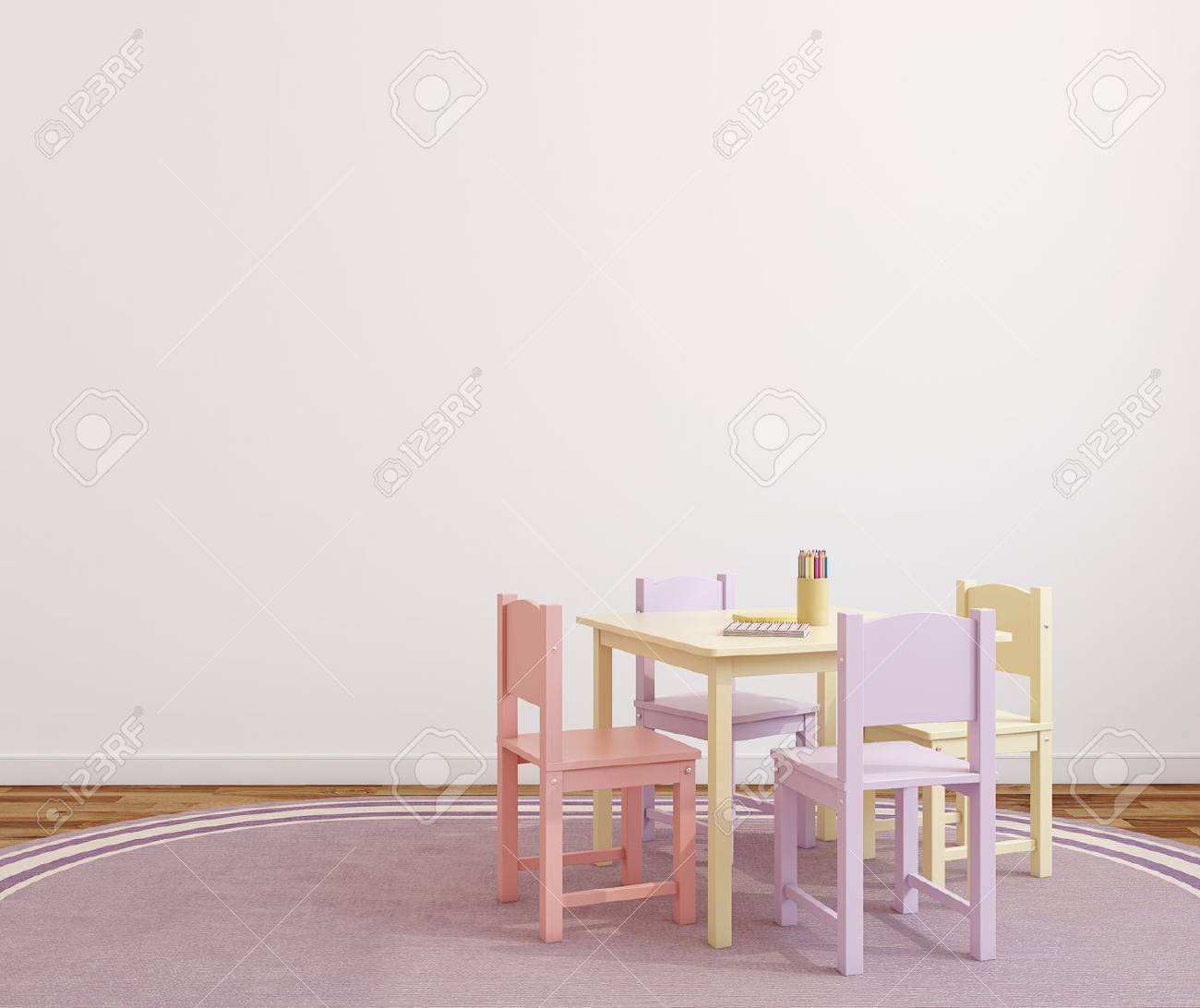 Playroom interior with small table and four chairs. 3d render. - 47689228