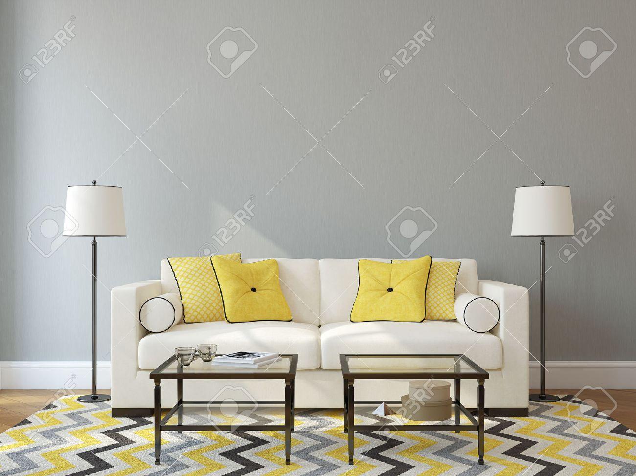 Intérieur moderne salon avec canapé blanc presque vide mur gris ...
