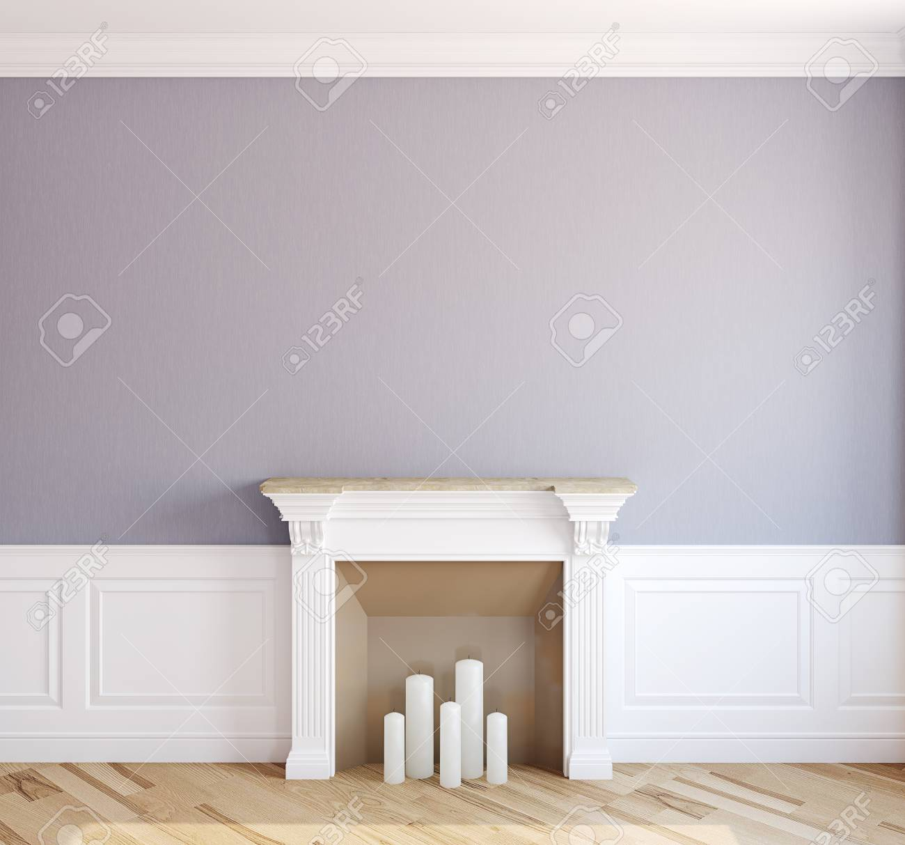 Interior with fireplace. 3d render. - 48268196