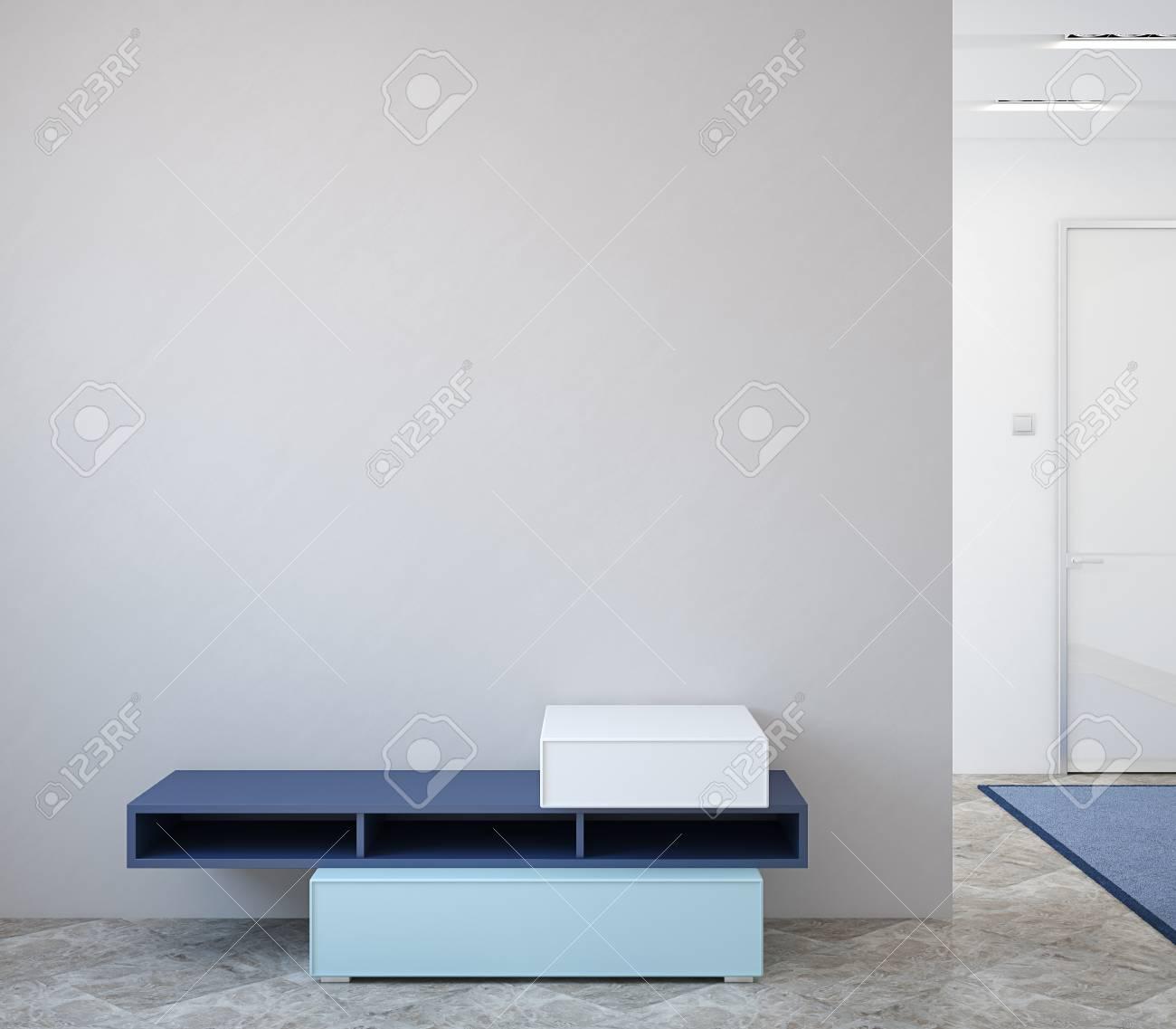 Moderne Flur Inter Mit Kommode In Der Nahe Von Leeren Grauen Wand