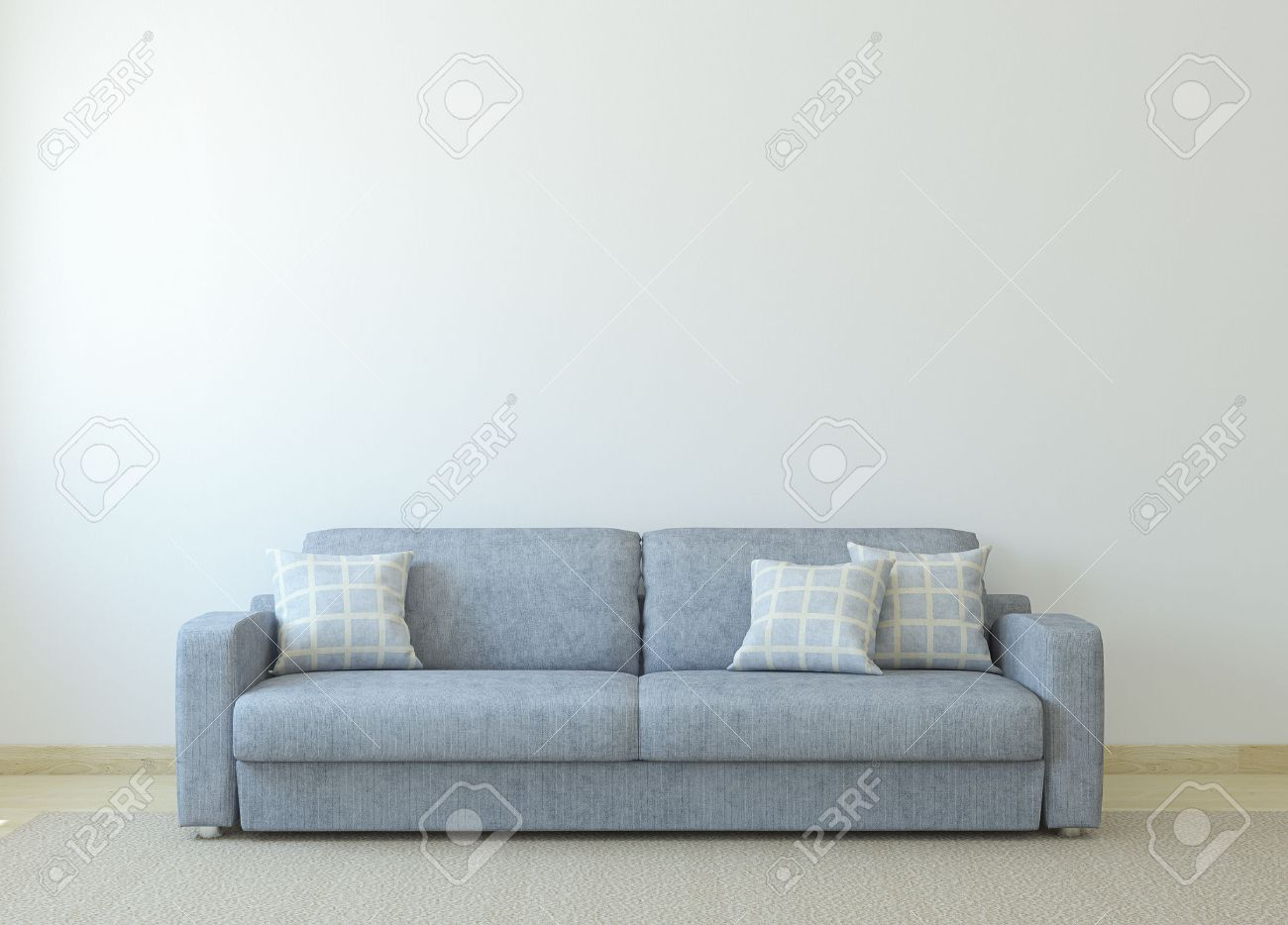Living Room With White Walls Modern Living Room Interior With Gray Couch Near Empty White