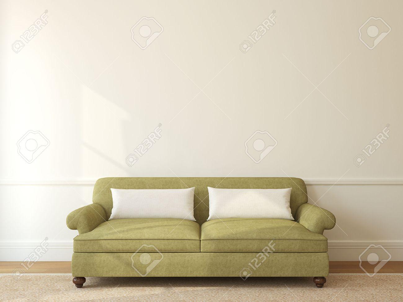 Moderne Wohnzimmer Interieur Mit Grünen Sofa In Der Nähe Leer Beige Wand.  3D Darstellung