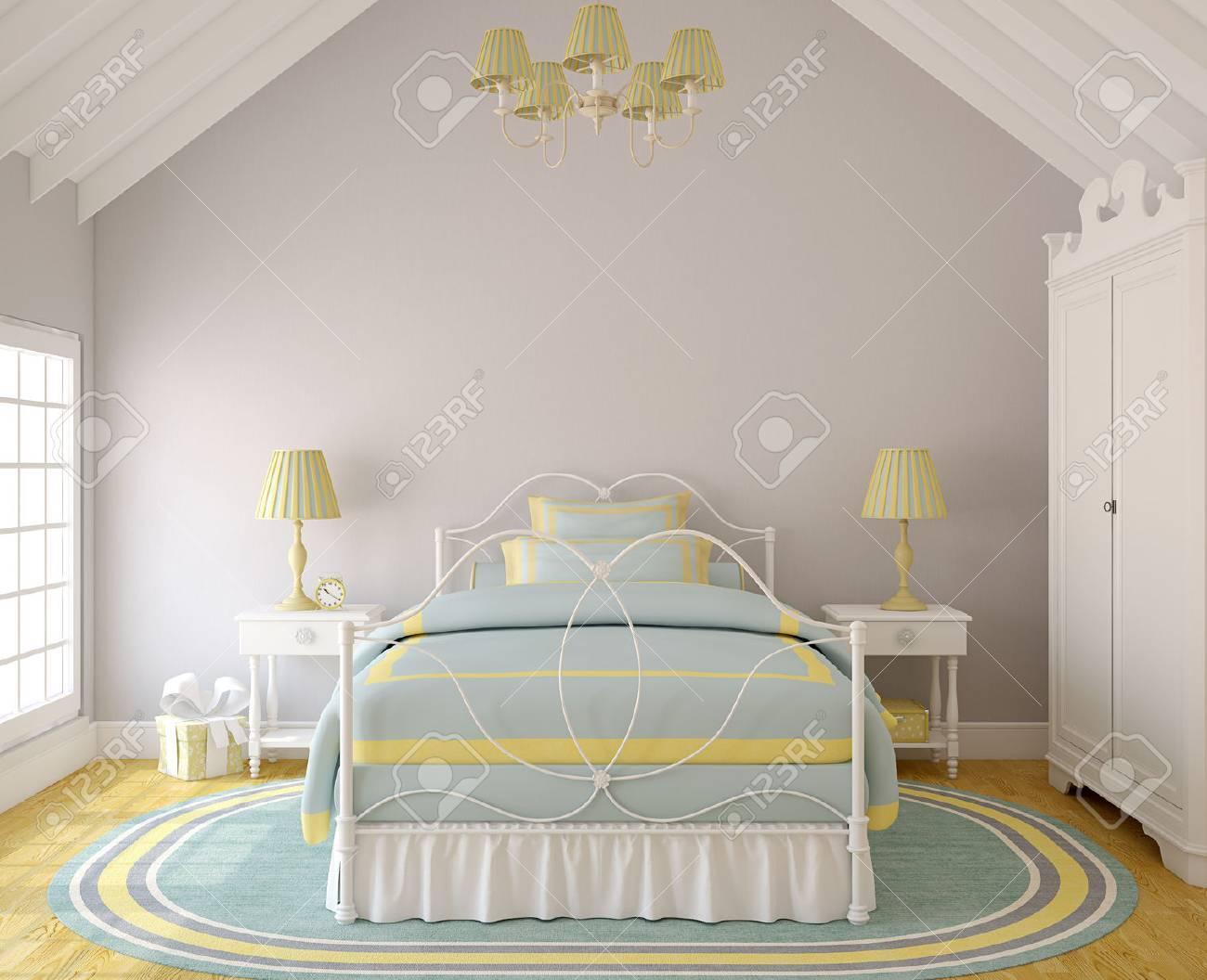 Intérieur De Chambre Pour Petite Fille. 3d Render. Banque D\'Images ...