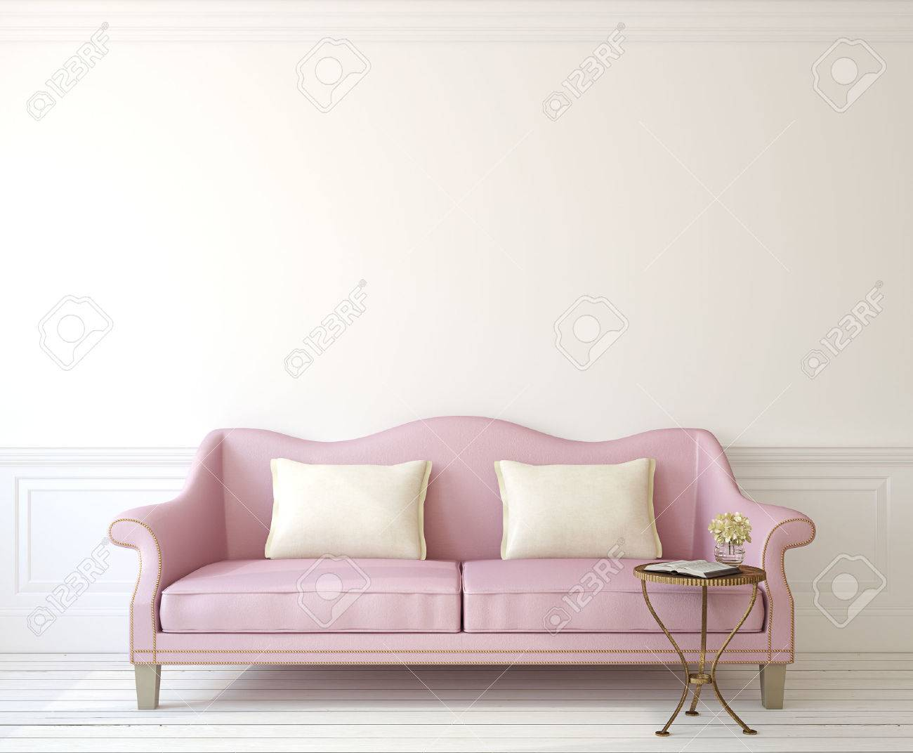 Romantic Interior With Pink Couch Near Empty White Wall. 3d Render. Stock  Photo