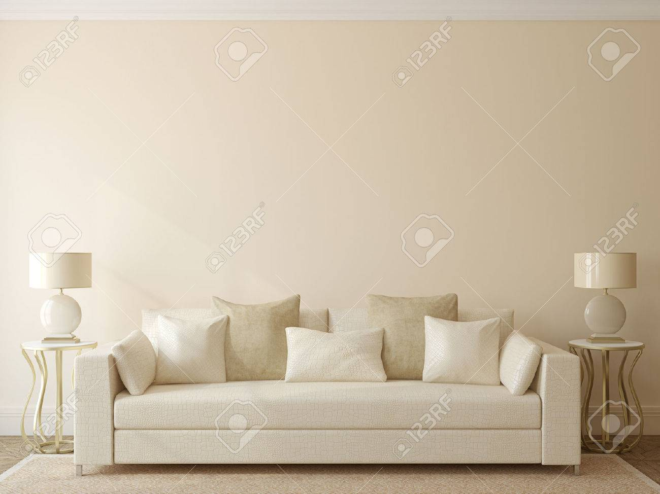 Modern Living-room Interior With White Couch Near Empty Beige ...