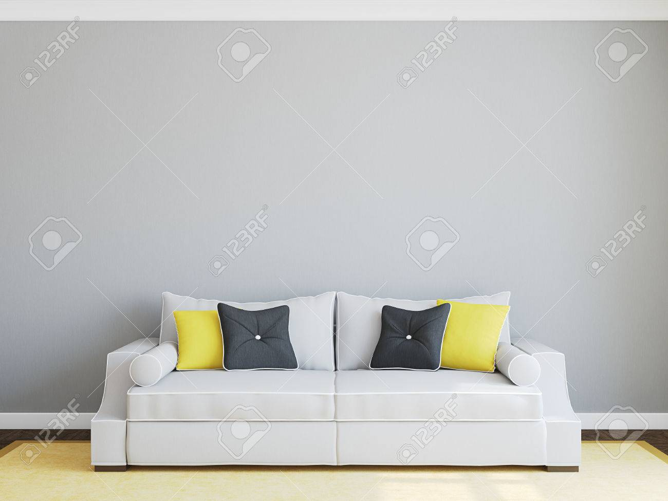 Modern living-room interior with gray couch. 3d render. - 50220624