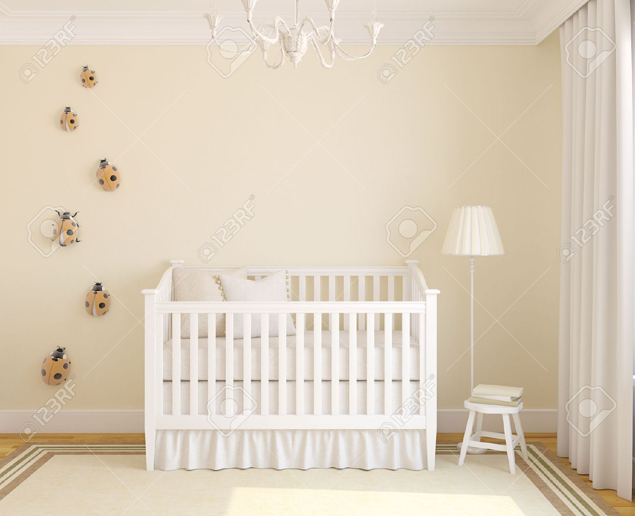 Iinterior of nursery with crib. Frontal view. 3d render. - 50220630