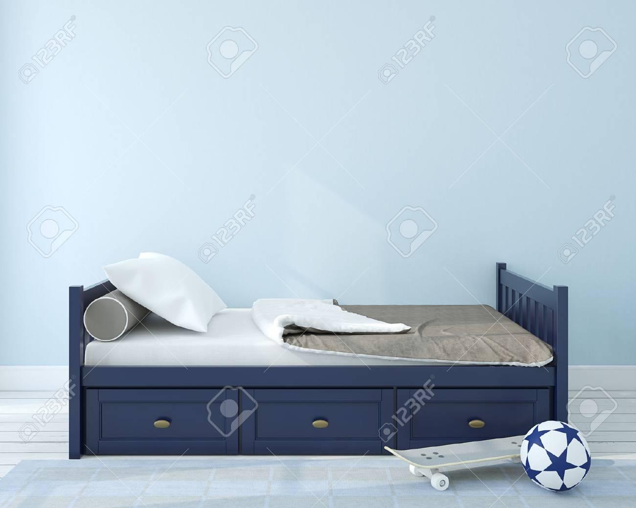 Interior of nursery.Bedroom for boy. 3d render. - 50220687