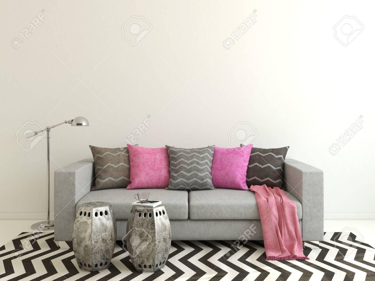 Inredning av modernt vardagsrum med grå soffa. 3d. royalty fria ...