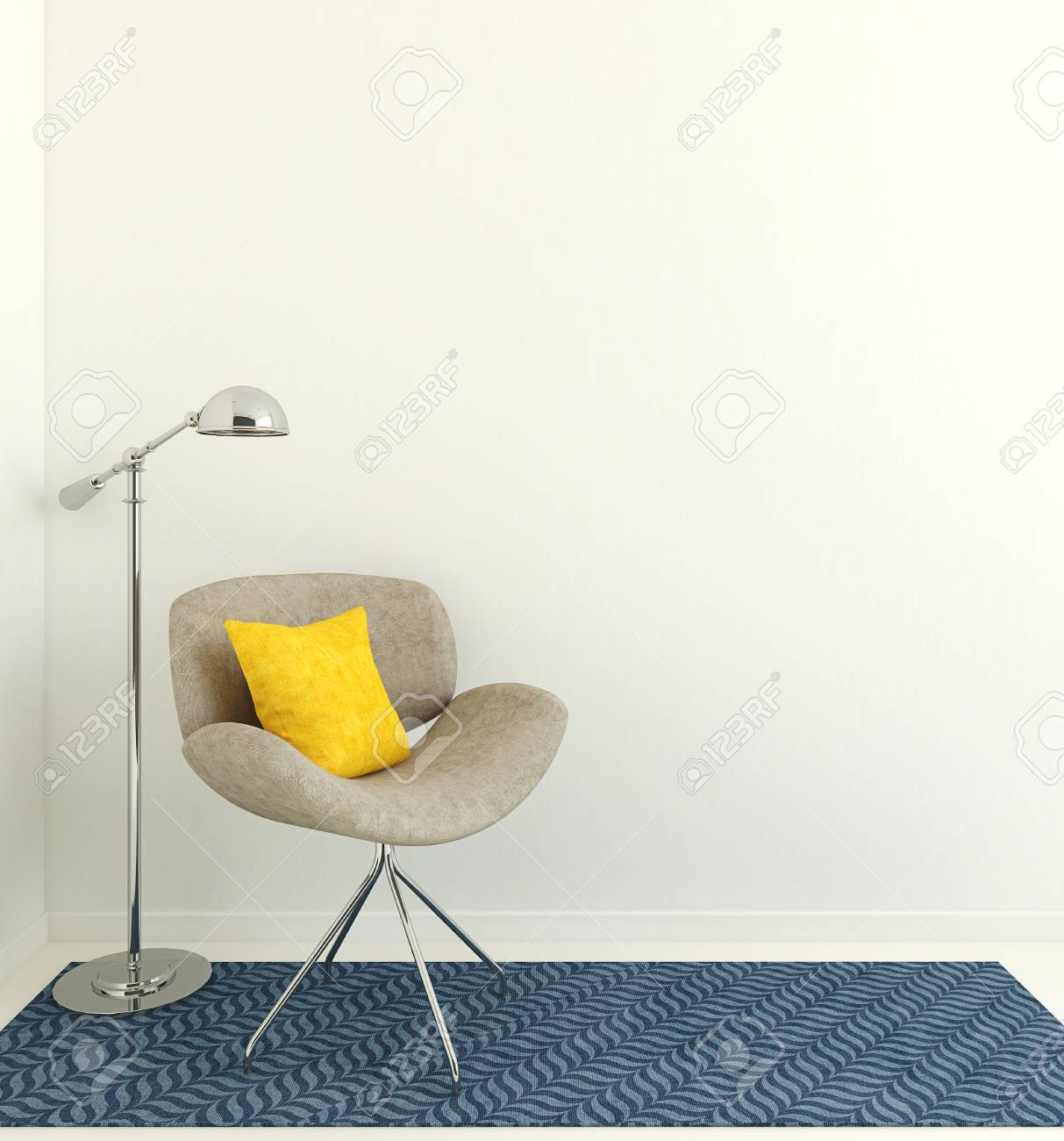 Modern interior with gray armchair near empty white wall. 3d render. - 51731742