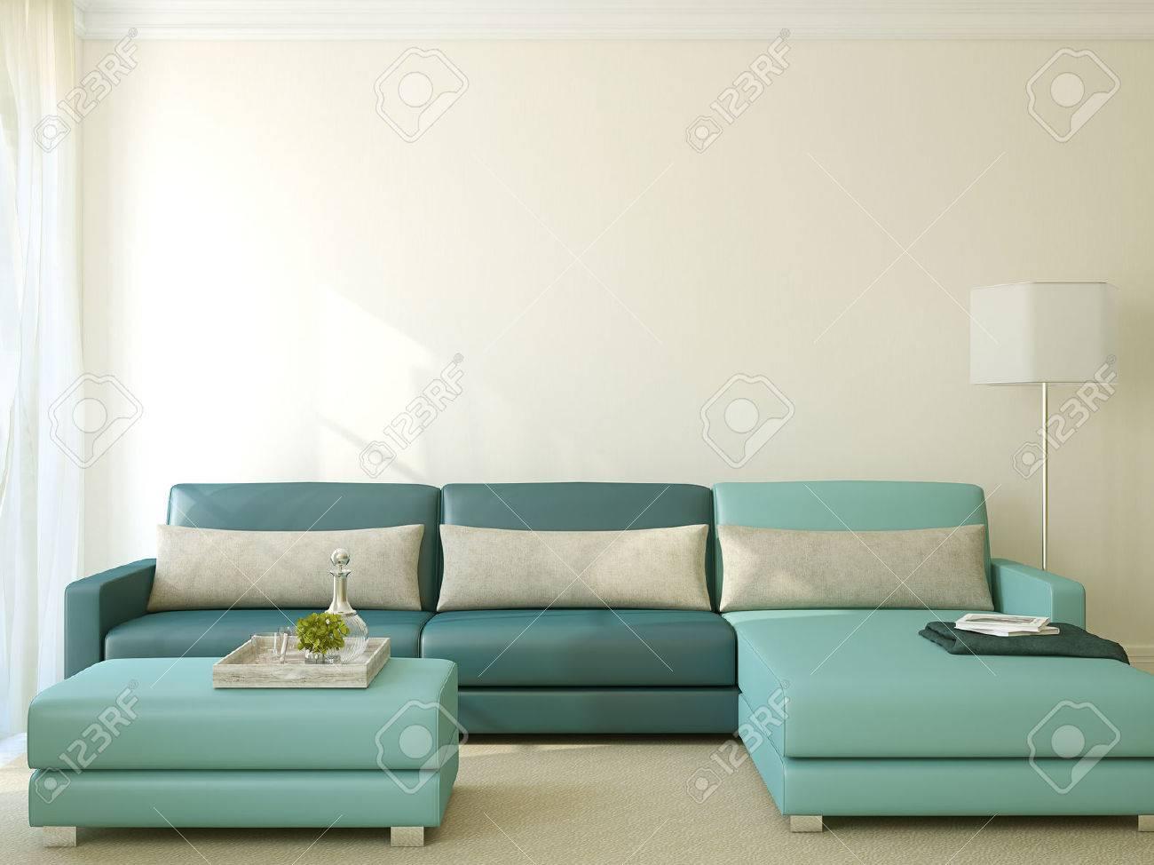 Intérieur de salon moderne avec canapé bleu. 3d render.