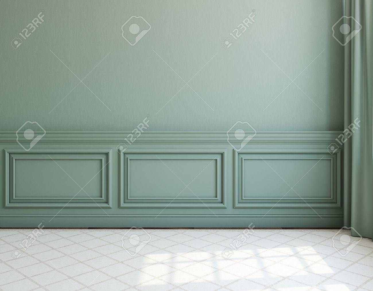 Interior. Empty room with dack wall and light rug. 3d render. - 54382471