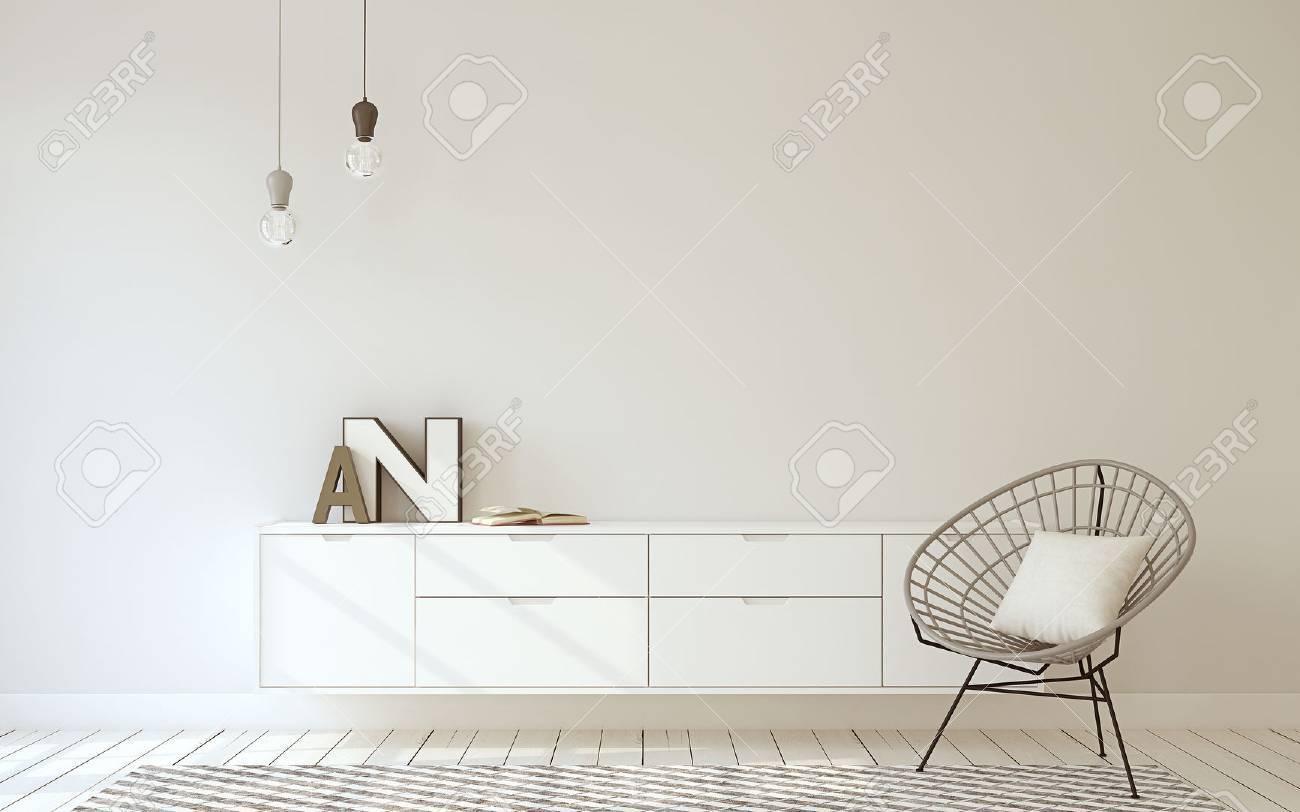 Hallway interior in scandinavian style. 3d render. - 65932629