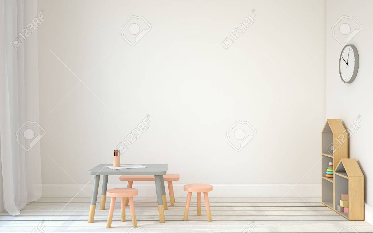 Interior of playroom with small table and three chairs. Scandinavic style. 3d render. - 66939880