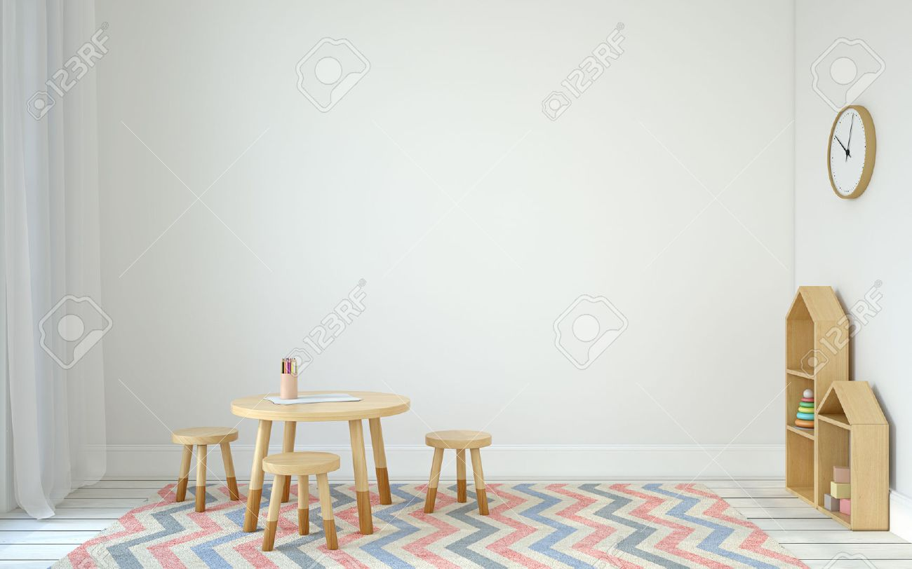 Interior of playroom with small table and three chairs. Scandinavic style. 3d render. - 67199334