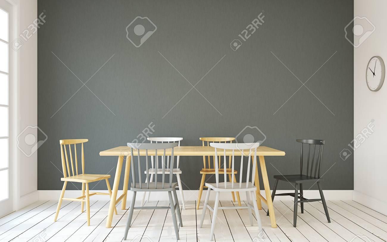 Intérieur de la salle à manger de style scandinave.