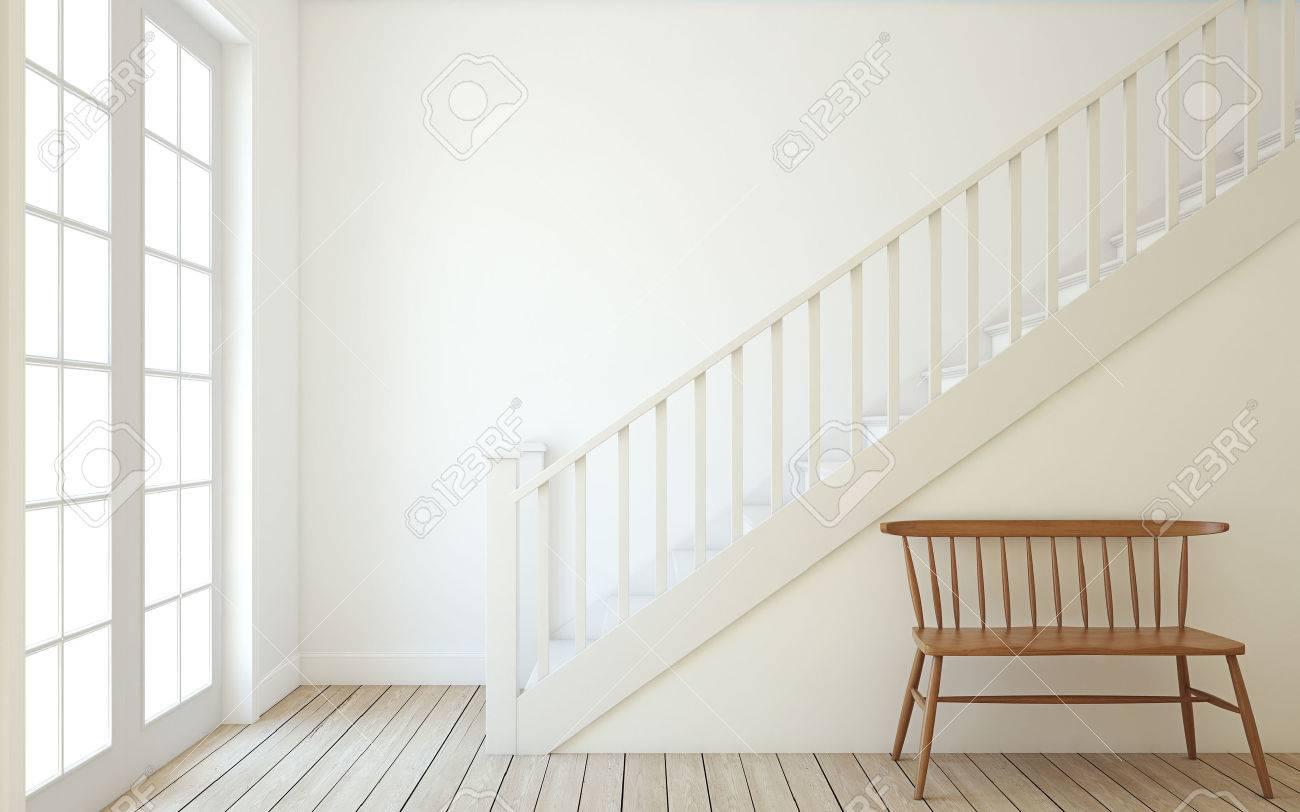 Intérieur du couloir avec escalier en bois. Mur mockup. 3d rendre.