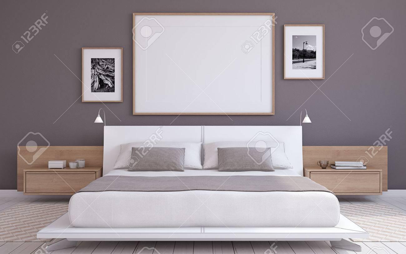 Modern bedroom interior. Frame mockup. 3d render. - 69159439