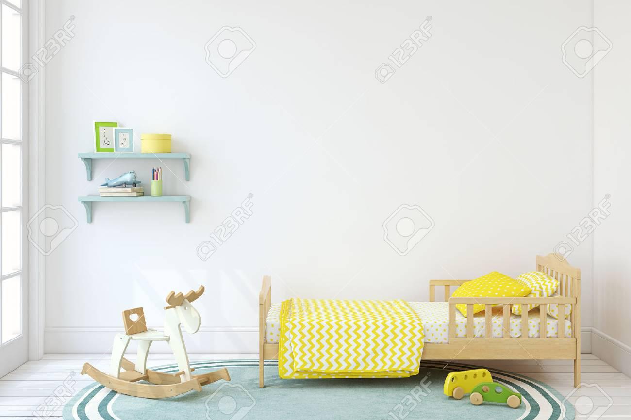 Bedroom for boy. Interior mock up. 3d render. - 80449524