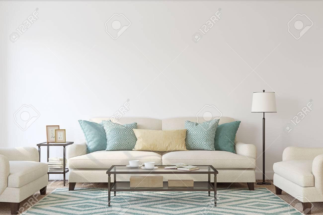 Living-room interior. Mockup. 3d render. - 84156929