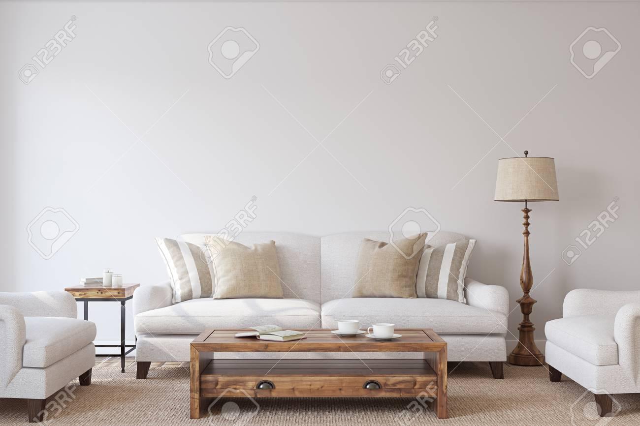 Living-room interior. Mockup. 3d render. - 84166869