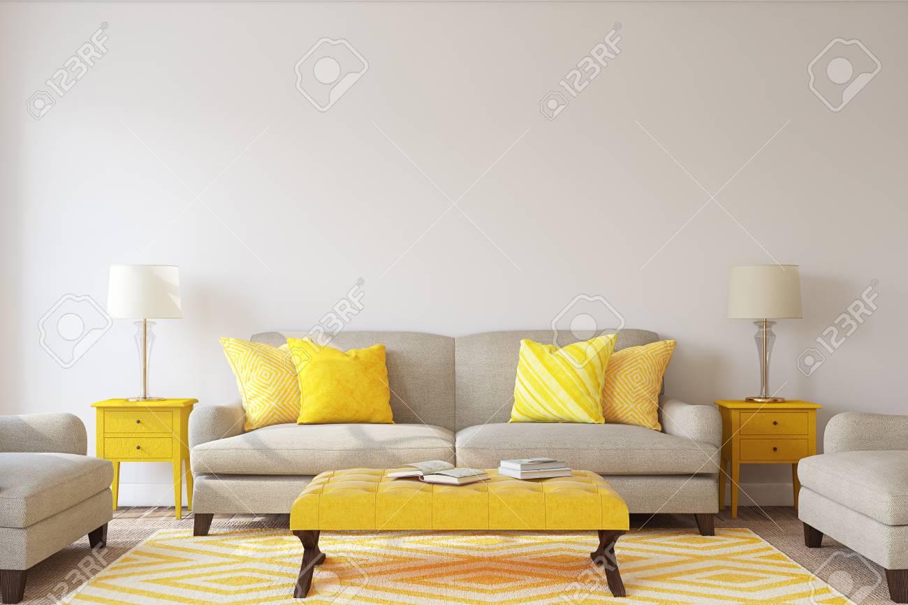 Living-room interior. Mockup. 3d render. - 84156928