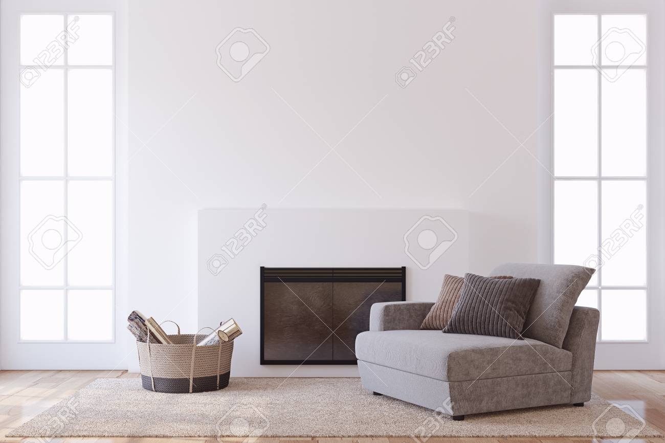 Modern interior with fireplace. Interior mock-up. 3d render. - 113661064